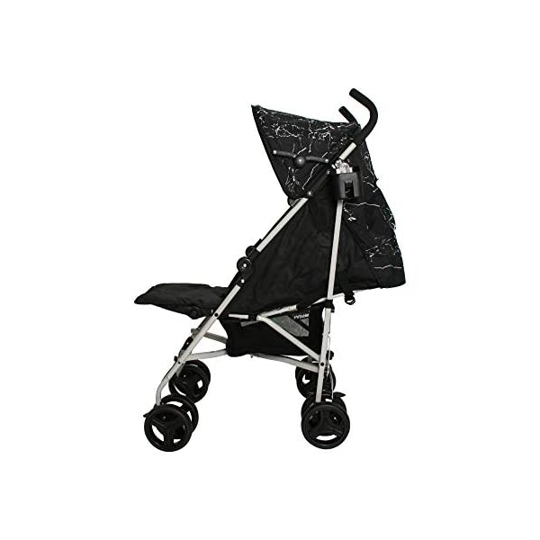 My Babiie MB01 Black Marble Stroller My Babiie Suitable from birth to maximum 15kg, Great for parents on the go being lightweight but strong, Lockable swivel front wheels, Compact fold, ideal for holidays too! Front and rear wheel suspension, Adjustable 2-position leg rest for extra comfort, Super soft handles Extendable 2 position canopy, Hood includes a storage pocket, Large storage basket 2