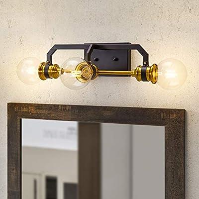 Bathroom Vanity Light Fixtures, 3 Light, Warm Brass and Bronze Finish Wall Sconce