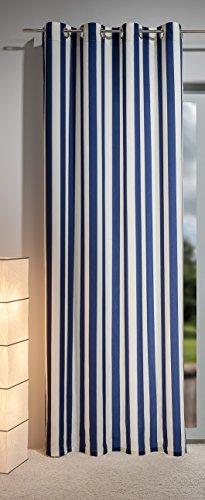 Gardine - Ösenschal , 140 x 245 cm in hochwertiger Qualität, Trevira CS, Polyester/satin, modernes - edles Design, dunkelblau, Blockstreifenoptik, sehr pflegeleicht, acht Ösen in Chrom, exklusive Ware von Heco Finest art