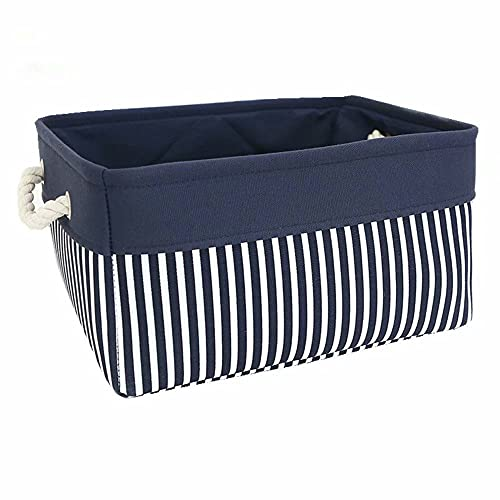 TcaFmac Fabric Nautical Basket for Storage,Collapsible Canvas Storage Bins Containers Organizing Basket for Gifts Empty ,Shelves, Closet,Nursery Baby room 14(L) x 10(W) x 7(H) inches