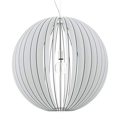 EGLO Holz Pendellampe Cossano, 1 flammige moderne Pendelleuchte, Hängeleuchte aus Holz und Stahl, Farbe: Weiß, Fassung: E27, Ø: 70 cm