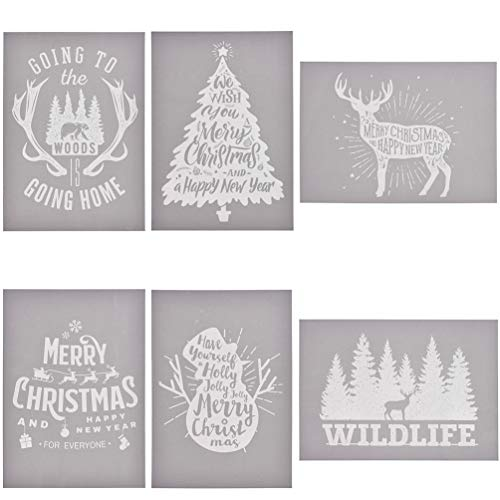 YeulionCraft Self-Adhesive Silk Screen Printing Stencil Mesh Transfers for DIY Christmas Decoration T-Shirt Pillow Fabric Painting Paper (6PCS)