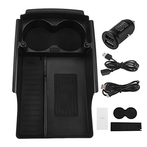 KIMISS Cargador inalámbrico para automóvil, cargador de teléfono inalámbrico, caja organizadora, cargador, tablero con soporte para taza de agua, apto para Model S/X 2016.10-2019