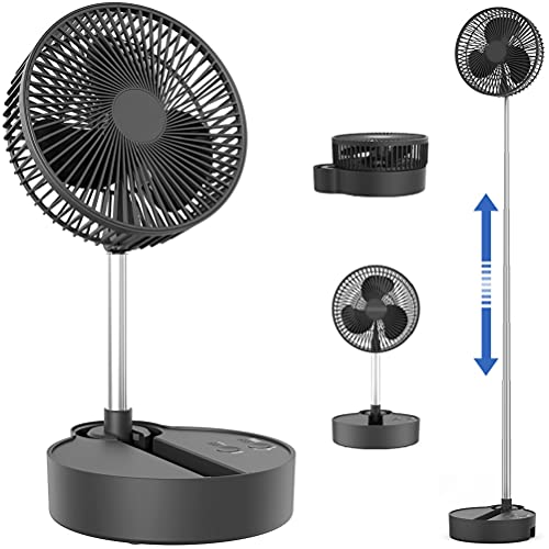 Oscillating Standing Fan-Portable & Foldable, Rechargeable Battery Operated Fan, Used as a Floor Fan or a Desk Fan, Adjustable Height, 8 inch 10000mAh, Quiet