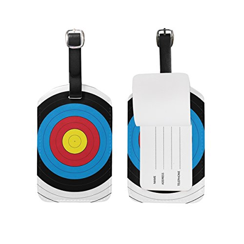 LEISISI Target Archery Travel Luggage Tags Suitcase Luggage Bag Tags, Travel ID Bag Tag Airlines Baggage Labels Pack of 2