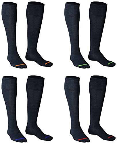 Piarini 39-42 4 Paar Damen Kniestrümpfe lang - Baumwollstrümpfe ohne Gummib& - Damenstrümpfe Baumwolle jeans blau dunkelblau farbige Spitze