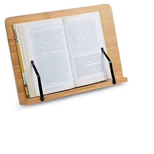 Bambus Leseständer 34x24cm Kochbuchhalter einstellbar Bücherständer Bookrest Buchhalter Bambus Lesung Rest für Buch, Tablet PC, Laptop