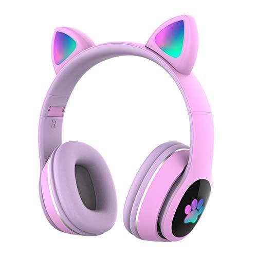 Docooler Auriculares Bluetooth, con orejas de gato con luz LED, inalámbricos, 7 colores de luces de respiración plegables, inalámbricos, BT5.0, auriculares con micrófono, entrada AUX y tarjeta TF