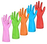 Dishwashing Rubber Gloves for Cleaning – 5 Pairs Household Gloves Including Blue, Pink, Orange,...