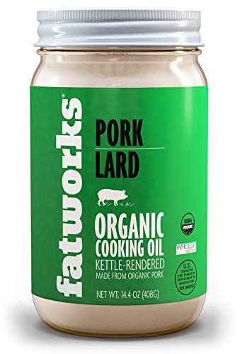 Fatworks, Certified Organic Pork Lard, NON-GMO, USDA 100% Organic for Keto, Paleo Everyday Cooking and Frying, Whole30 Approved, No Preservatives in 14.4 OZ, glass jar