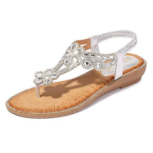 TIFIY Sandalen Frauen, Damen Sommer Casual Peep Toe Flache Strandschuhe Frühling Bling Blume Hausschuhe(Silber,38 EU)