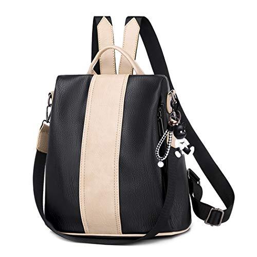 BUKESIYI Damen Tasche Rucksack Handtasche Frauen backpack Klein Anti Diebstahl Schulrucksack Laptop Weekender PU Leder CCDE78152 Schwarz