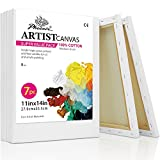 PHOENIX White Blank Cotton Stretched Canvas Artist Painting - 11x14 Inch / 7 Pack - 5/8 Inch Profile Triple Primed for Oil & Acrylic Paints