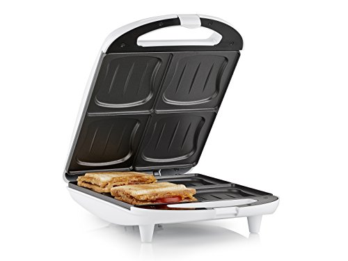 Princess SA-3065 XL Sandwichera para 4 sándwiches, 1300 W, Negro, Blanco