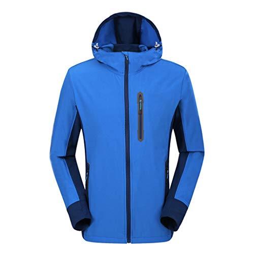 MAYOGO Herren Jacke Herren Allwetterjacke Winddichte wasserdichte Light Jacket Wanderjacke Outdoor Jacke Regenjacke Windbreaker Kapuzenjacke Mäntel Streetwear (Blue, XXL)