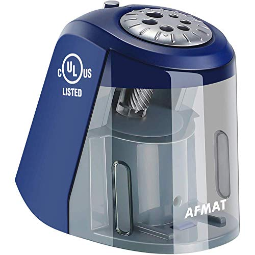 Electric Pencil Sharpener, Heavy Duty Pencil Sharpener with 6 Size Dial, Auto Stop, Super Quiet, Adjustable Pencil Sharpener for Artists, Classroom Electric Sharpener for 6-11mm Jumbo Pencils, Blue