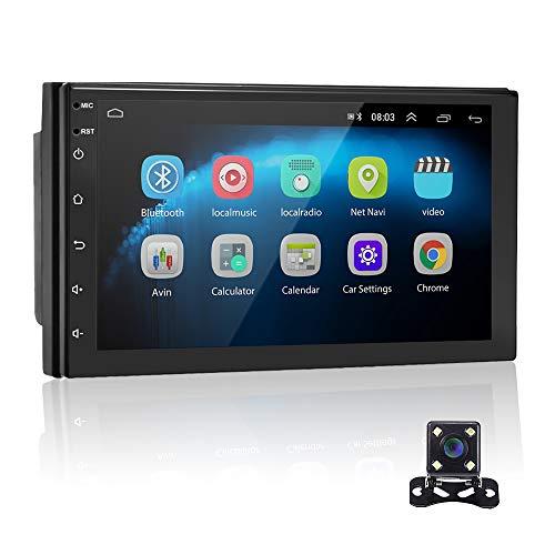 Android 9.1 7 '' HD 2 Din Autoradio Radio Bluetooth FM mit USB/AUX-Eingang/Cinch Eingang, Unterstützung DVR/GPS Navigation/Spiegelverbindung/Lenkrad Fernbedienung & Rückfahrkamera