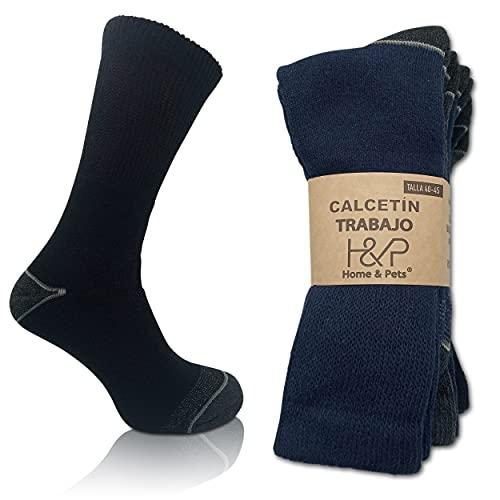 Home & Pets Calcetines de Trabajo hombre Reforzados Talón y Punta para Botas Seguridad y Deporte de Algodón pack 5