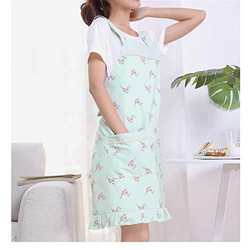 YXDZ Cocina Delantal De Cocina Estilo Coreano Chaleco De Mujer Estilo Verano Sección Delgada Delantal Transpirable Damas Cintura Verde Verde