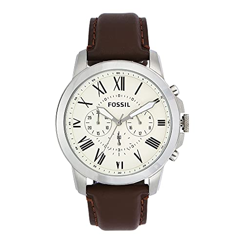 Fossil Men's Grant Quartz Leather Chronograph Watch, Color: Silver, Brown (Model: FS4735IE)