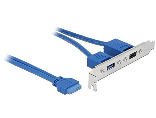 DeLock Slotplaat 1 x 19 pin USB 3.1 palen aansluiting intern > 1 x USB Type-C aansluiting + 1 x USB type A externe aansluiting