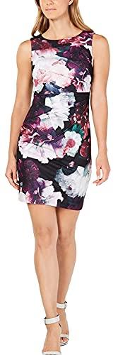 Calvin Klein Women's Petite Floral-Print Starburst Sheath Dress Purple 12P