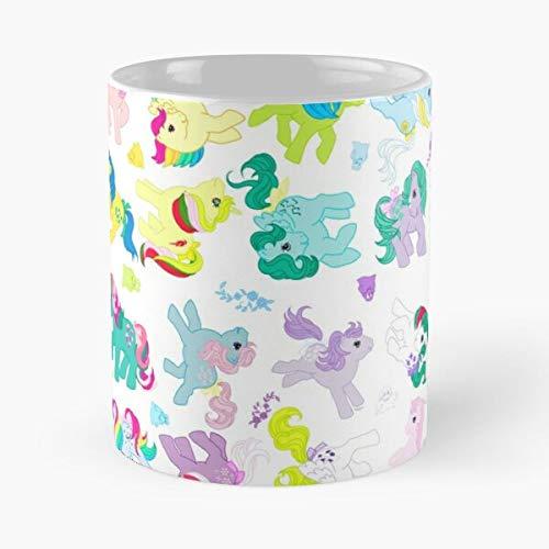 Ponies and Bushwoolies and Flowers – Taza de café de cerámica blanca de color blanco