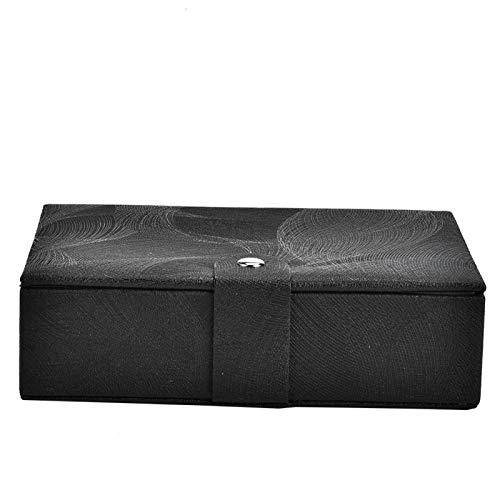 Caja de almacenamiento portátil de piel sintética, caja de almacenamiento de joyas de viaje, se utiliza para almacenar anillos, pendientes, collares y pulseras (negro)