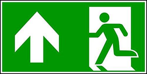 Schild Rettungsweg geradeaus DIN EN ISO 7010 - 300x150x1.5 mm Kunststoff langnachleuchtend