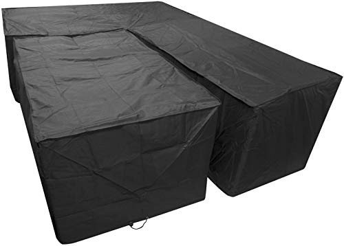 Garden Furniture Covers HJHNZDZH, Outdoor Furniture Covers, Black L Shape Outdoor Dining Patio Set Cover Large Right Side Long (Size : Large Right Side Long)