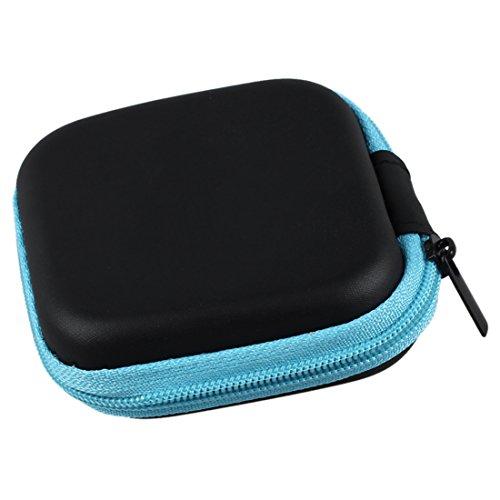 Caja estuche de auriculares - SODIAL(R) Cubierta caja estuche protector bolsa de auriculares de diseno simple cuedrado para cables de auriculares moneda o cualquier otro objeto pequeno azul