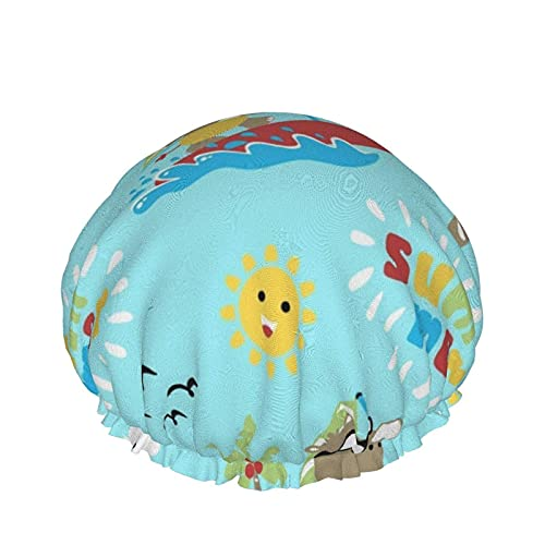 Gorro de baño Rhino Play Windsurf en verano con sonriente Sun Cloud Gorro de ducha de baño Gorro de ducha de baño impermeable ajustable