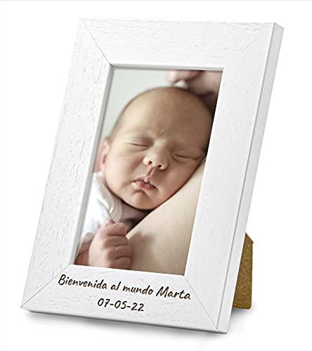 Marco de Fotos PERSONALIZABLE con tu Texto y con tu Foto - Hecho de madera de pino - Elige tu color, elige el tamaño, agrega tu texto y sube tu imagen. Hecho en España (10 X 15 cm, BLANCO)