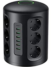 AUKEY Tour Multiprise Parasurtenseur Parafoudre avec Protection Parafoudre, 6 Ports de Charge USB et 12 Prises Secteur avec Cordon de 2m (Protection jusqu'à 1500 Joules)