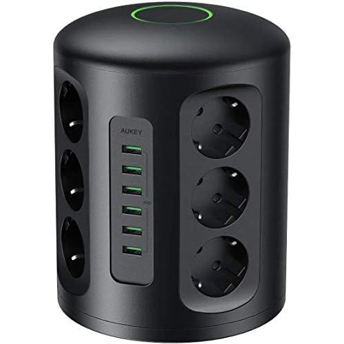 AUKEY Multipresa Verticale, Ciabatta Multipresa da scrivania Elettrica con protezione da sovraccorrente, 6 porte di carica USB e 12 prese con 2M di cavo prolungato, 1500J Surge Protezione