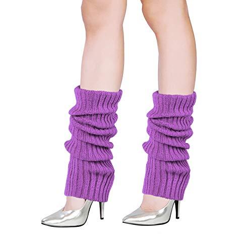 vamei Calentadores de la pierna de algodón para mujer, cálido y cómodo, regalo deportivo, diferentes colores de los Años 1980 Calentador (violeta claro)