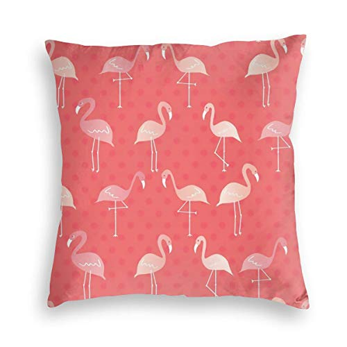 KXT Flamingos Red Decorative Velvet Throw Pillow Covers,Cushion Case for Couch Sofa Bed 18'' x 18
