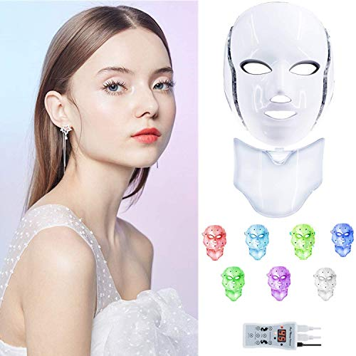 Cinlinso Led Face Mask with 7 Color Facial Skin Deall Mask Proven Light Therapy Acne Photon Mask (Withe)