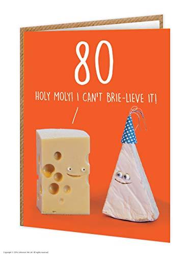 80e verjaardagskaart | Grappig Humoristisch | Leeftijdskaart | Kaasgrap | 'Ik kan het niet Brie-Lieve Het!' | Verkocht door onbekende inkt