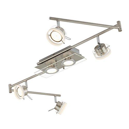 Briloner Leuchten 3166-062 A+, Deckenleuchte, Deckenlampe, LED Deckenstrahler, Spots, Wohnzimmerlampe, Gelenkbogen, Schienensystem, Deckenleuchte, Schlafzimmerlampe, Küchenlampe, Metall, 26 Watt, matt-nickel, 150 x 12 x 16.4 cm
