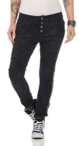 Lexxury 10470 Coole Damen Hose Jeans Cordjeans Boyfriend Style Damenhose Röhre (dunkelblau, XS=34)