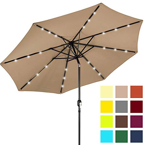 Best Choice Products 10-Foot Solar Powered Aluminum Polyester LED Lighted Patio Umbrella w/Tilt Adjustment and Fade-Resistant Fabric, Tan