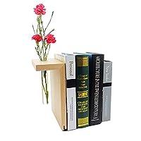 木製ブックエンド 棚用装飾 - 季節と気分で花を交換 本棚のデコレーションや本好きへのユニークなギフト ファームハウスブックエンド