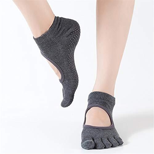 Figutsga - Calcetines de yoga sin espalda, sin espalda, con cinco dedos para interiores y exteriores, color gris oscuro