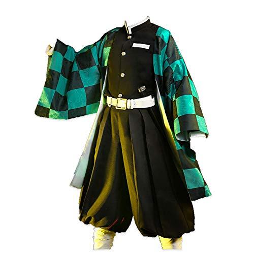 CHANGL Disfraz de Cosplay de Halloween para Anime Demon Slayer Kamado Tanjirou Vestido japonés Fotografía Trajes de Kimono Informales Diarios con Accesorios Tela exhibición de Anime