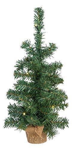 Idena 30135 - Deko Tannenbaum mit 10 LED warm weiß, mit 6 Stunden Timer Funktion, Batterie betrieben, für Weihnachten, Advent, als Stimmungslicht, Christbaum, ca. 45 cm