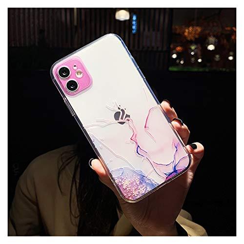 Glqwe Funda de teléfono de mármol Claro para iPhone 12 Mini Pro MAX 6 7 8 11 S Plus X S XR MAX Moda Degradado de Moda Suave (Color : T6, Material : For iPhone 7)