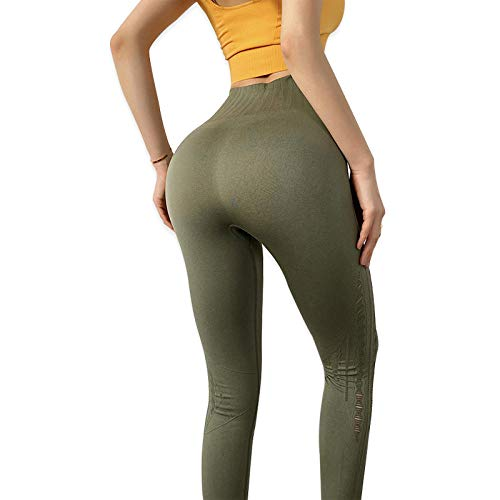 LYWZX Leggings De Yoga para Mujeres Women's Leggings Breathable Yoga Pants Stretch Hips Nine-Point Pants Running Fitness Pants Yoga Wear Sports Pants-Green_L