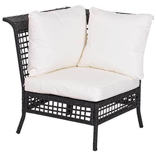 Outsunny Rattan Single Corner Sofa Garden Outdoor Furniture Wicker w/Cushion and Pillow