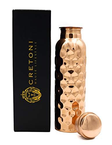 Cretoni Flasche Honeycomb Diamant Seemless Leak Proof Design Perfekte Ayurveda Kupfergefäß Copperlin Reines Kupfer Wasser für Sport,Fitness,Yoga,natürliche Nutzen(900 Milliliter / 30 Ounce)